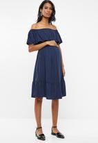 edit Maternity - Bardot frill dress - navy