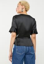 Missguided - Short sleeve tie front crop - black