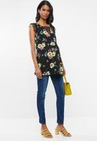 edit Maternity - Lace inset floral tank top - black