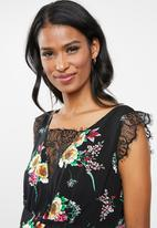 edit Maternity - Maternity Lace Inset floral Tank Top - Black
