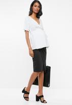 edit Maternity - Polka-dot wrap blouse - white