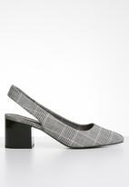Call It Spring - Check print back-strap block heel - grey