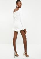 Missguided - Milkmaid frill playsuit - white