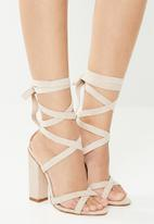 Public Desire - Vera lace up block heel - neutral