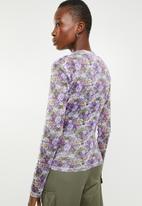 Superbalist - 2 pack turtle neck mesh tee - purple & khaki