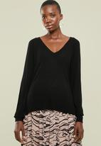 Superbalist - Lightweight bamboo blend v-neck pullover - black