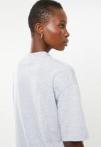 Superbalist - Hi neck grown on sleeve tee - grey melange