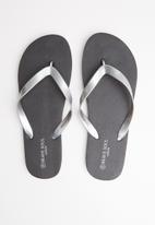 Brave Soul - Snake plain flip flops - black & grey