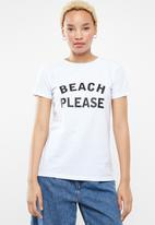 STYLE REPUBLIC - Beach please T-shirt - white & black
