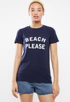 STYLE REPUBLIC - Beach please T-shirt - navy & white