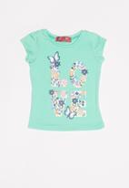 POP CANDY - Kids girls love butterfly and flower tee - green
