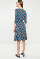 edit - 3/4 sleeve fit and flare dress - multi