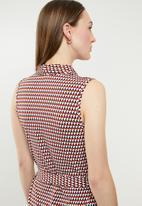 edit - Sleeveless wrap over dress - multi