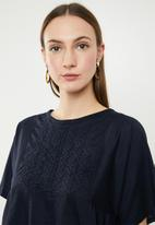 edit - Short sleeve embroidered blouse - navy