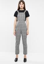 Missguided - Check dungarees - black & white