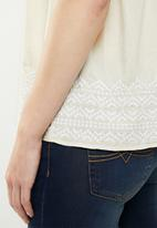 edit - Short sleeve embroidered blouse - cream