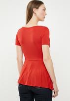 edit - Peplum short sleeve top - red