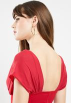 Missguided - Mesh overlay bodycon midi dress - red