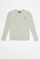 POLO - Jason cable knit pullover - grey
