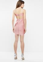 Sissy Boy - Lace up detailed bandage dress - pink