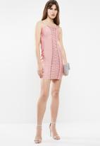 Sissy Boy - Lace up detailed bandage dress - pink