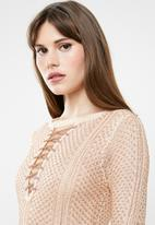 Sissy Boy - Lurex knit dress with front lace up detail - peach