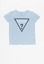 GUESS - Short sleeve guess iconic triangle tee - blue