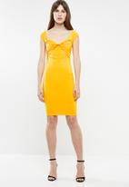 Sissy Boy - Freestyle bardot midi dress - yellow