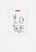 POP CANDY - Baby girls butterfly and flowers printed tee - white