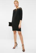 ONLY - Ally 3/4 sleeve lace insert dress - black