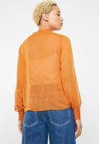 ONLY - Rachel long sleeve bow top - orange