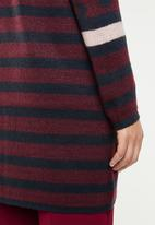 ONLY - New odine longsleeve open cardigan knit  - burgundy & navy
