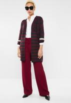 ONLY - New odine longsleeve open cardigan knit  - burgundy & navy