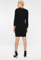 ONLY - Noora 3/4 sleeve neck bow dress - black