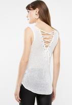 Sissy Boy - Lurex sequin knit top with lace up - white