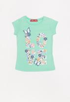 POP CANDY - Baby girls flower and butterfly printed tee - green