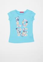 POP CANDY - Girls love butterfly and flower tee - blue