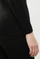 edit - Ribbed cardigan - black