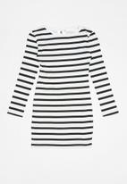 Rebel Republic - Fitted long sleeve bodycon dress - white & black