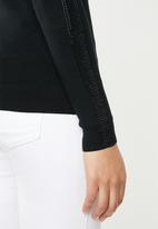 Sissy Boy - Logo knitwear with sleeve bling - black