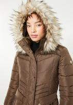 Sissy Boy - Longer length puffer with faux fur - brown
