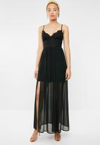 Sissy Boy - Crochet and chiffon maxi - black