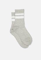 Cotton On - Ribbed crew socks - grey