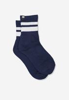 Cotton On - Ribbed crew socks - navy & white