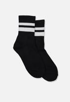 Cotton On - Ribbed crew socks - navy and white