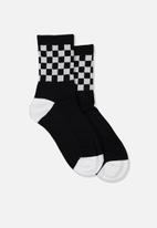 Cotton On - Ribbed crew socks - black & white