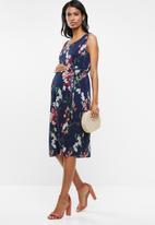 Cherry Melon - Maternity Plisse dress - navy