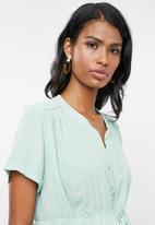 Cherry Melon - Maternity Woven mandarin shirt with short sleeve - blue