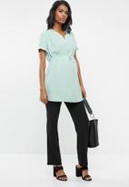 Cherry Melon - Woven mandarin shirt with short sleeve - blue