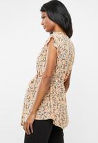 Cherry Melon - Maternity Woven mandarin frill sleeve shirt - multi